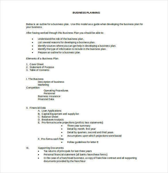 business plan outline free