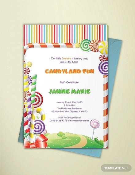 candyland birthday invitation illustrator template