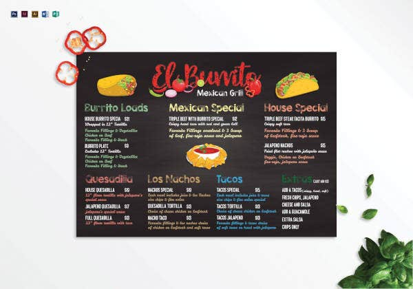 chalkboard menu template1
