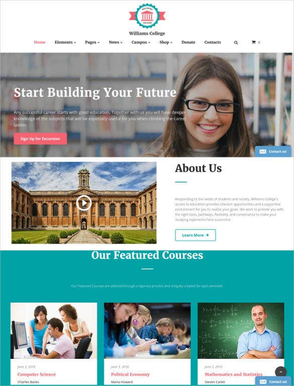 college course website template2