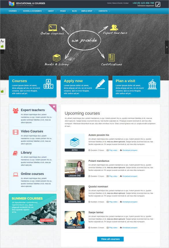 college with megamenu website template1