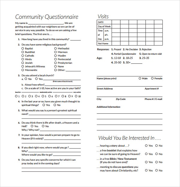community survey questions template sample