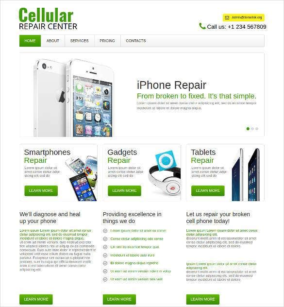 computer repair php website template1