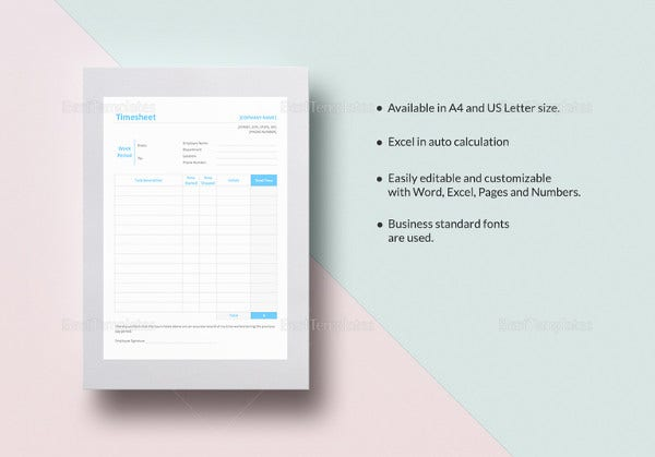 easy to edit timesheet template