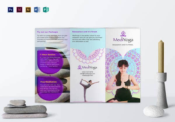 easy to edit yoga class brochure template