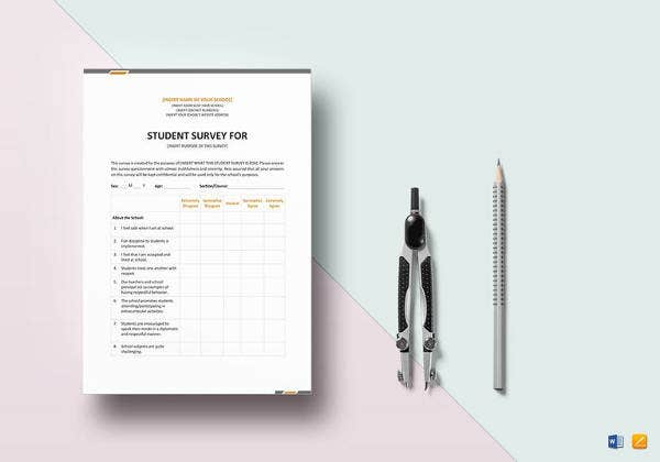 easy to print student survey template