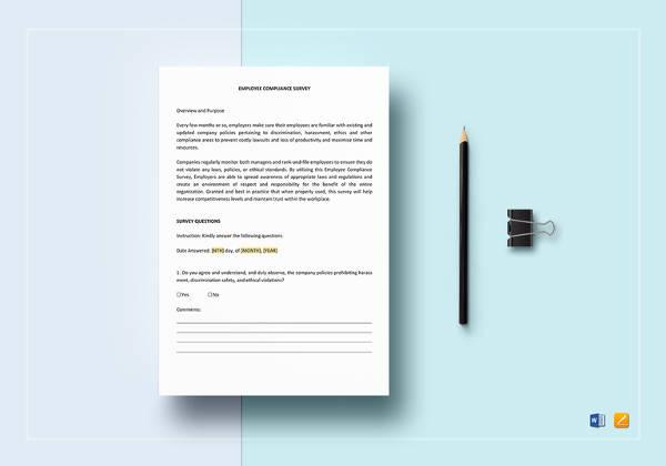 editable-employee-compliance-survey-template
