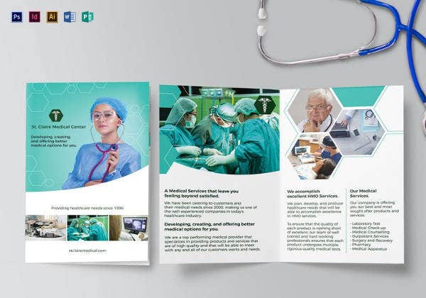 editable medical bi fold brochure template