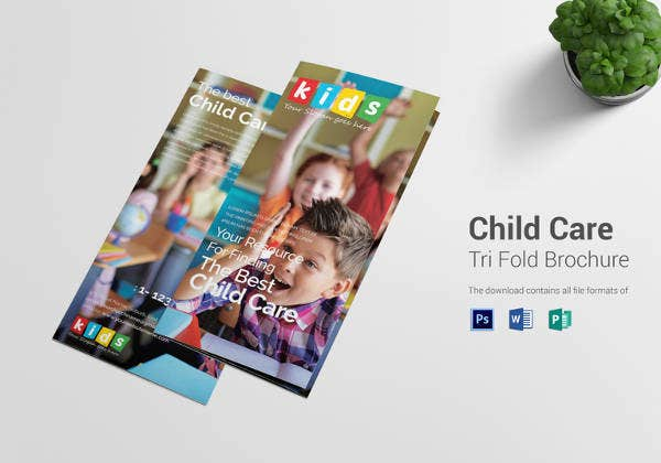 elegant child care tri fold brochure template