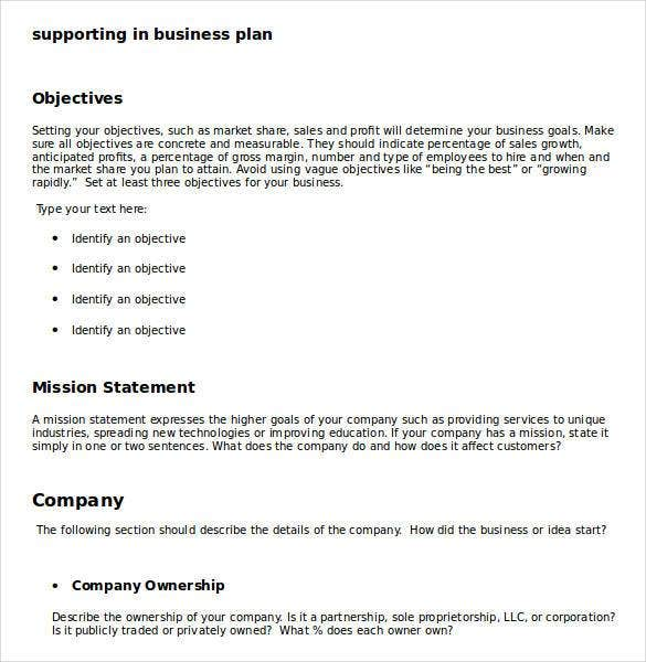 example of supporting in business plan1