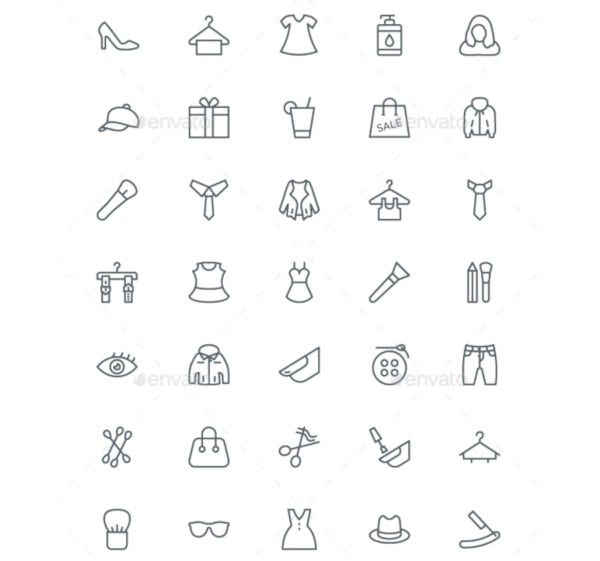 fashion and clothes line icons