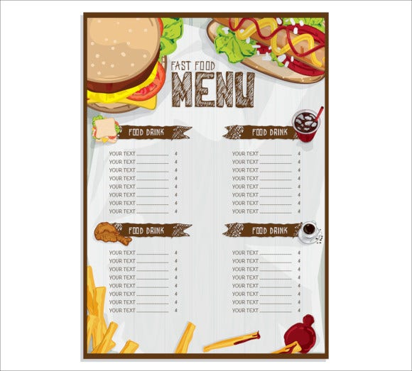 fast food graphic design menu template