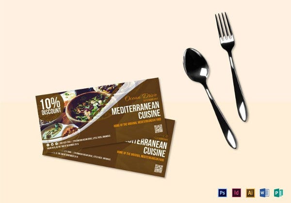 food cuisine coupon template in design