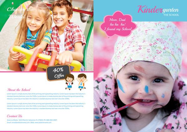 free-kindergarten-bi-fold-brochure-template