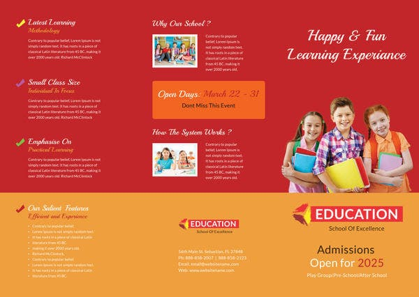 stunning kindergarten school a4 bifold brochure download
