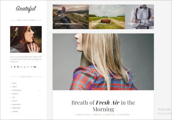 grateful personal blog wordpress theme