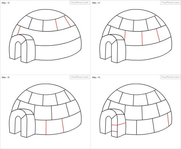 igloo easy drawing template1
