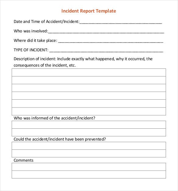 incident report template example