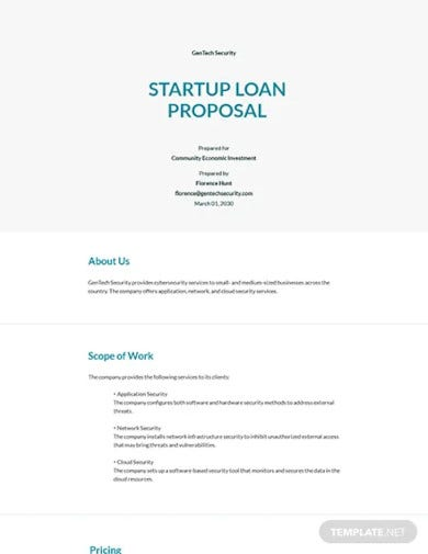loan proposal for startup template