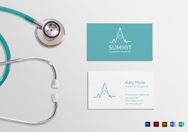 medical business card word template