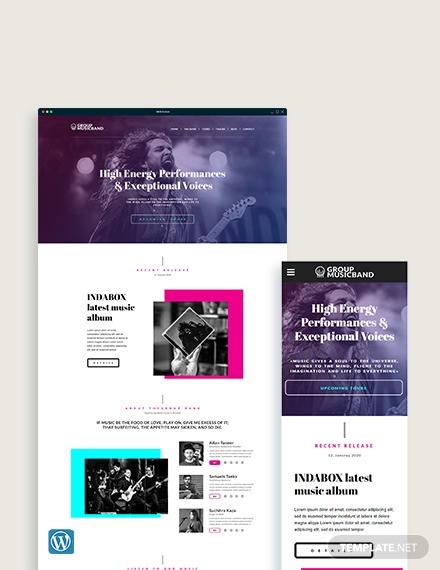 music band wordpress themetemplate