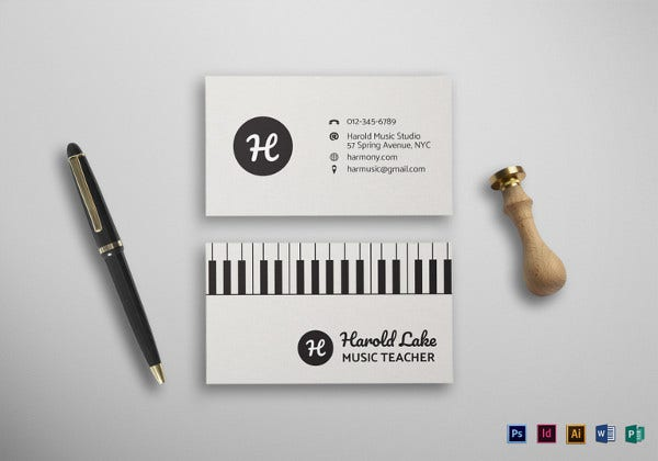 Music Business Cards Free PSD AI Vector EPS Format - Business card indesign template