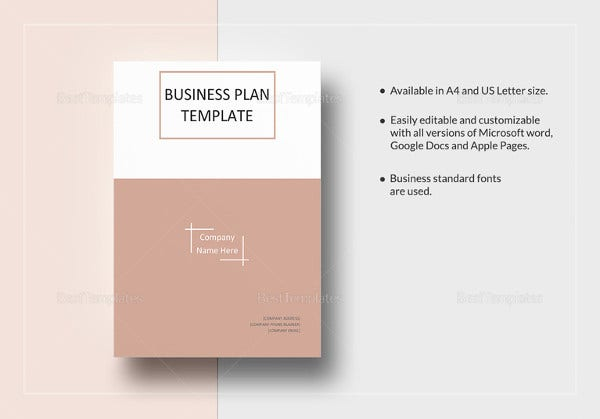 one page business plan word