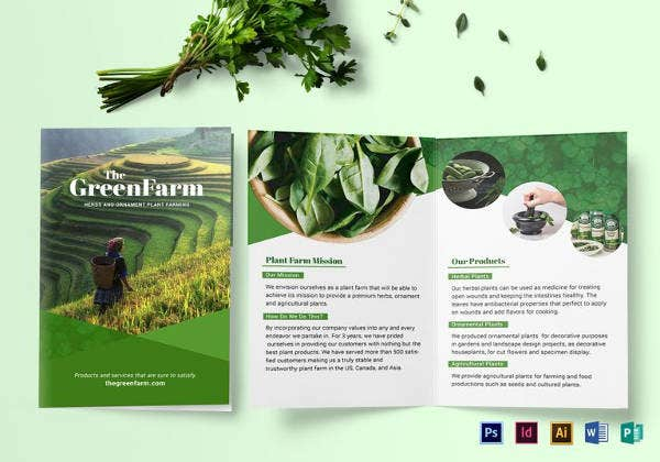 printable bi fold green brochure template