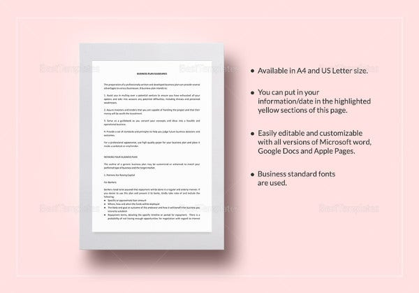 Business Plan Templates 43 Examples in Word – Printable Business Plan
