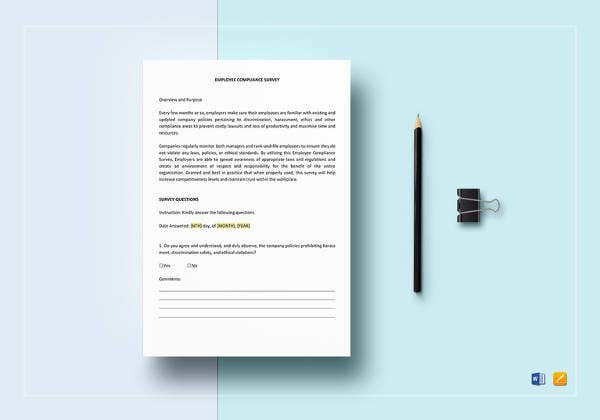 printable employee compliance survey template