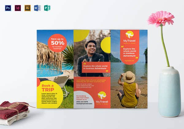 printable travel agency tri fold brochure template