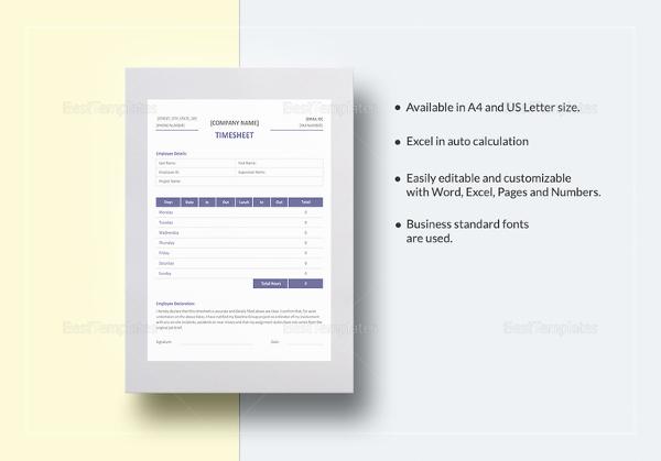 professional timesheet template