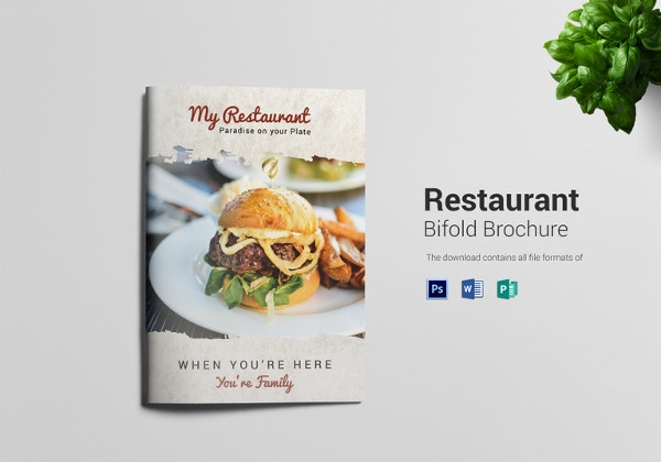 restaurant bi fold brochure template in psd