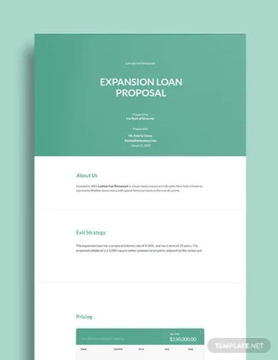 restaurant loan proposal template