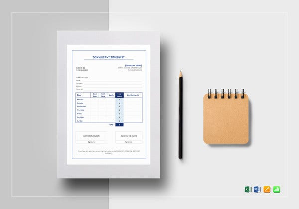 sample consultant timesheet template