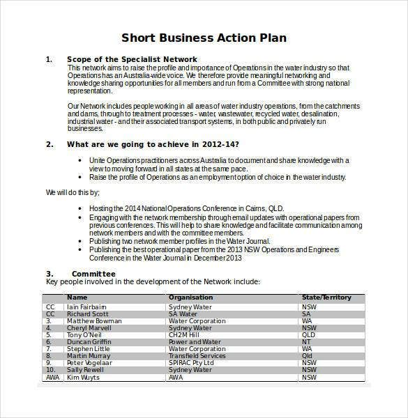 Short Business Plan Template Peccadillous - Australian business plan template