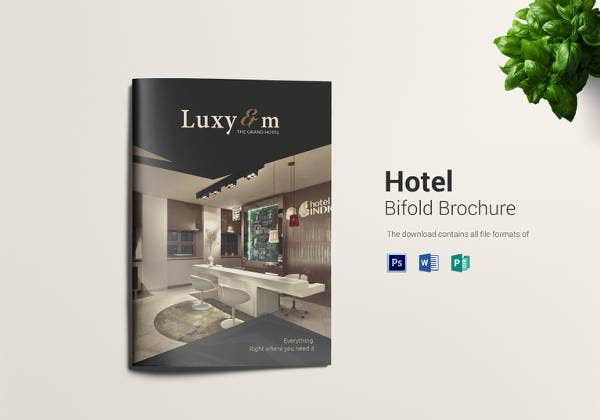 simple hotel bi fold brochure template