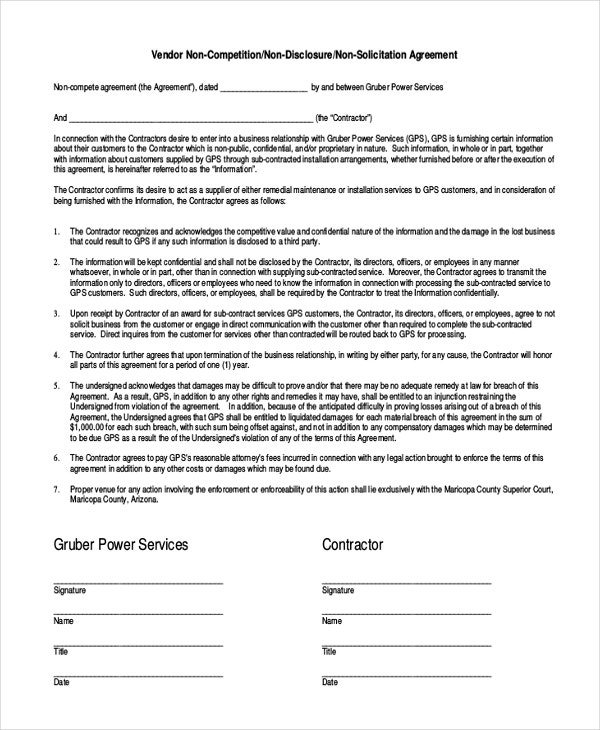 Vendor NonCompete Agreement Template  Free Sample Example