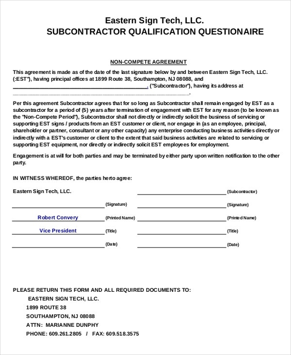 subcontractor non compete agreement1
