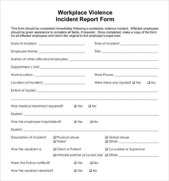 workplace violence incident report