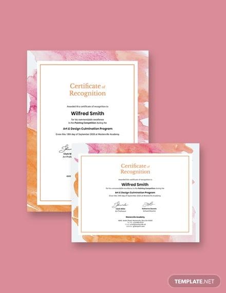 modern painitng award certificate