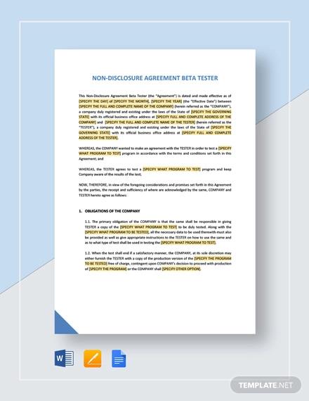 non disclosure beta tester agreement