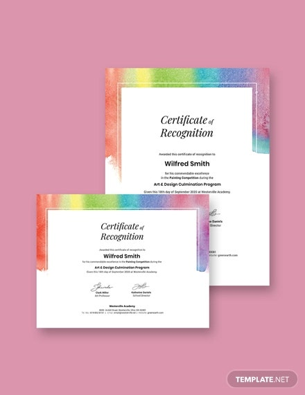 painting award certficate template