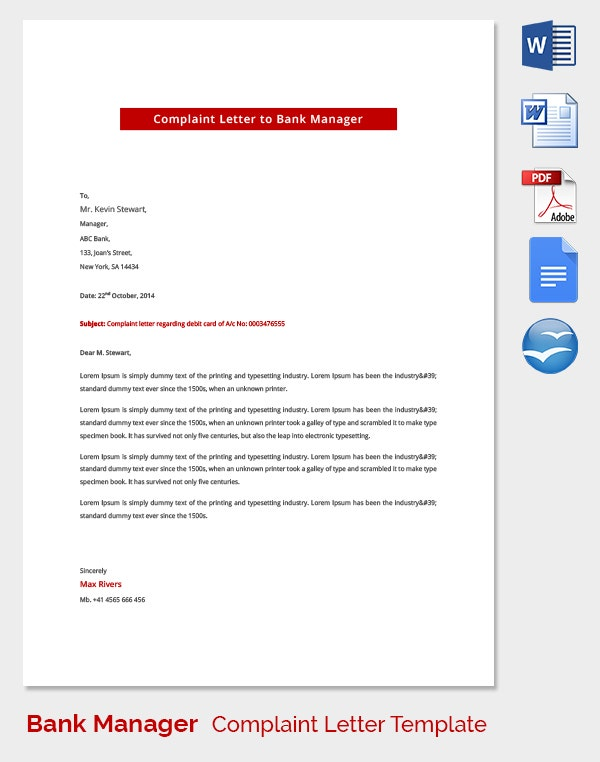 Bank Manager Complaint Letter Template
