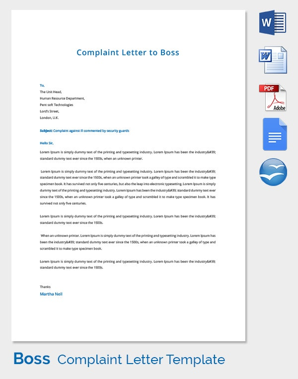 Complaint Letter Template to Boss