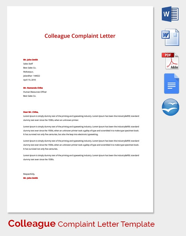 Colleague Complaint Letter Template