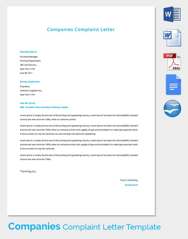 16 complaint letters free sample example format free premium 24 sample complaint letters spiritdancerdesigns Images