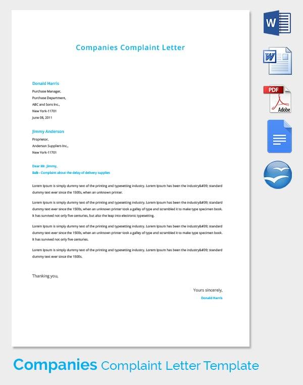 Companies Complaint Letter Template