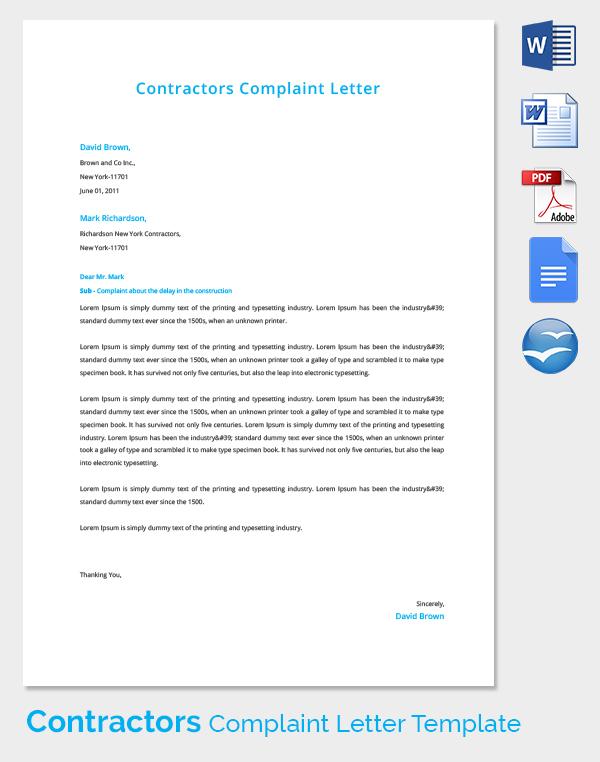 Contractors Complaint Letter Template