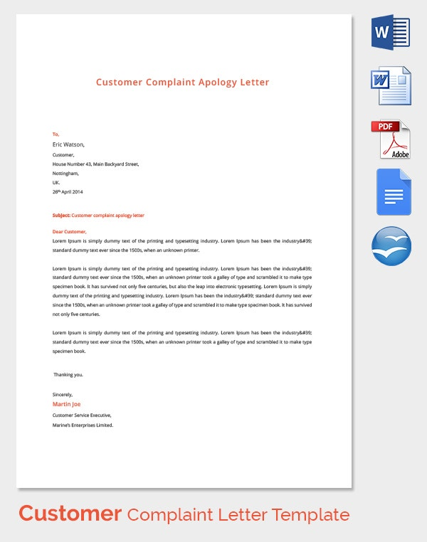 Customer Complaint Letter Template